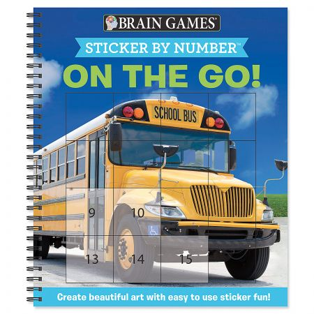 Sticker by Number On The Go Book Brain Games Keep the brain engaged while creating hours of fun. Watch as full-colored images emerge from unfinished images. 52 pages, 10 pages of stickers. 8 1/2 x 10 .