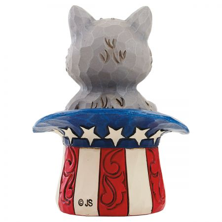 Mini Cat in Uncle Sam Hat Figurine by Jim Shore