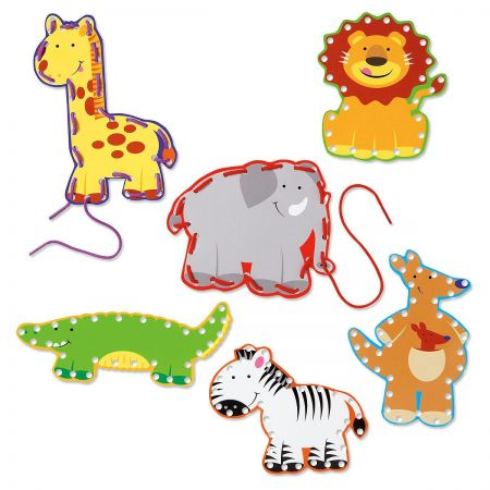 Zoo Animal Lace-Up Cards
