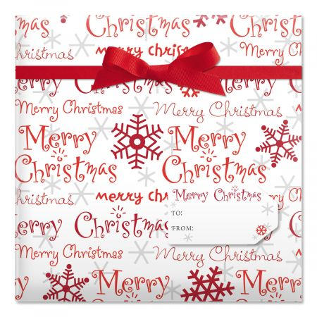 Merry Christmas Script Jumbo Rolled Gift Wrap and Labels