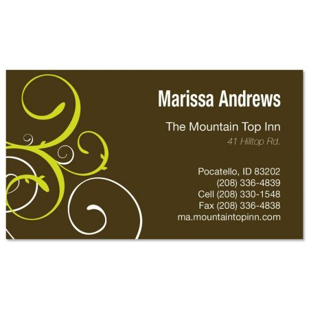 Green and Brown Swirl Business Cards