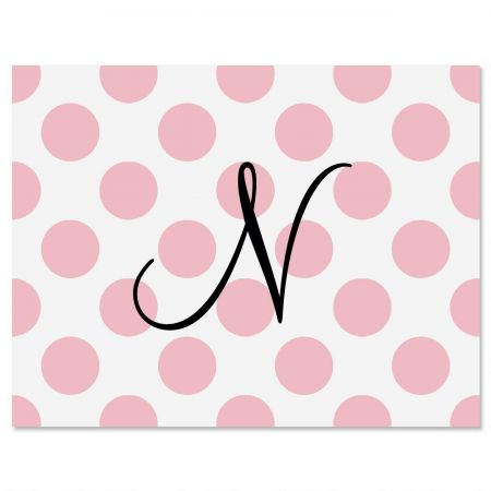 Pink Dots Initial Personalized Note Cards
