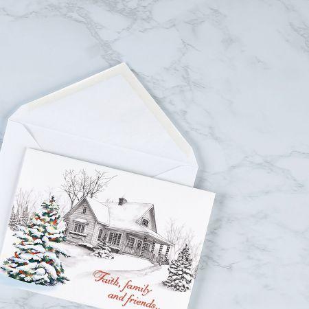Winter Home Religious Christmas Cards