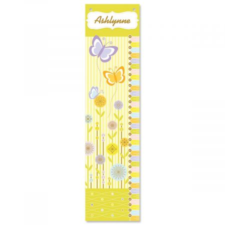 Flowers and Butterflies Canvas Growth Chart