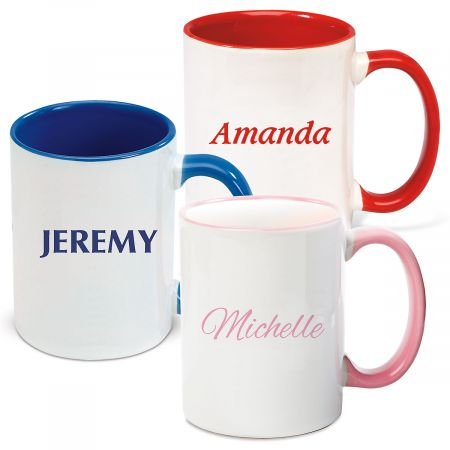 Name Personalized Mug in Blue, Red or Pink