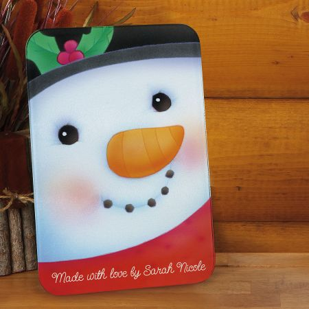 Snowman Tempered Glass Cutting Board