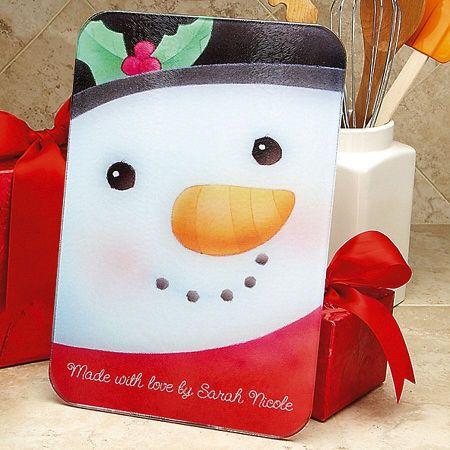 Snowman Glass Cutting Board