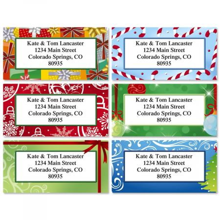 Holiday Border Address Labels  (6 designs)