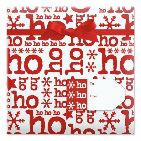 Ho Ho on White Jumbo Rolled Gift Wrap