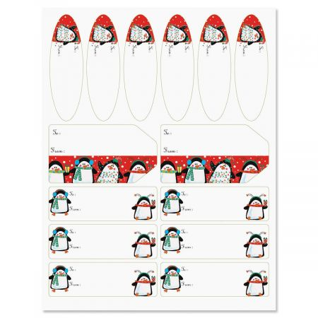 Festive Penguins Gift Wrap To/From Labels