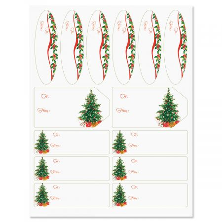 Classic Christmas Tree Gift Labels