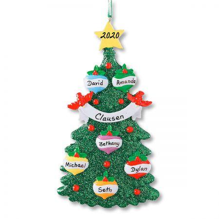 Glitter Tree Hand-Lettered Christmas Ornament