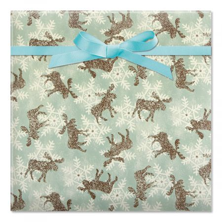 Moose & Snowflakes Jumbo Rolled Gift Wrap