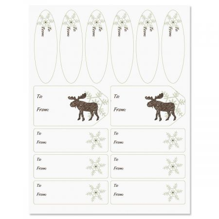 Moose & Snowflakes Christmas Labels