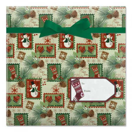 Woodland Cottage Jumbo Rolled Gift Wrap and Labels