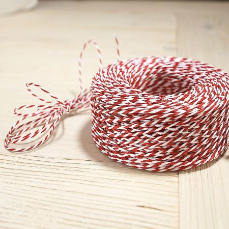 Red & White Jute Christmas Cord - 100 Yards