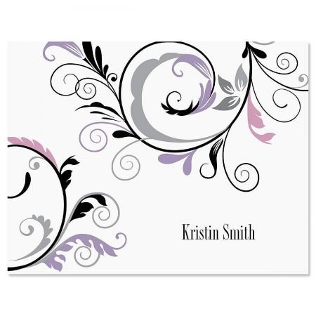Black & Grey Fantasy Personalized Note Cards