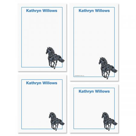 Horse Pattern Personalized Notepad Set