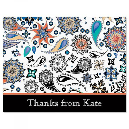 Color Paisley Personalized Thank You Cards