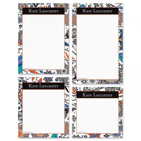 Color Paisley Personalized Notepad Set