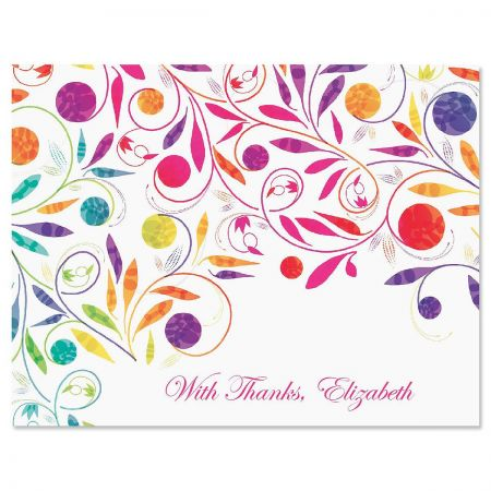 Color Swirl Personalized Thank You Cards