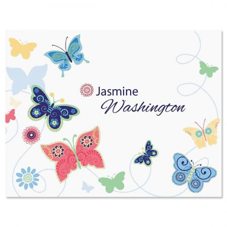 Delicate Butterflies Personalized Note Card