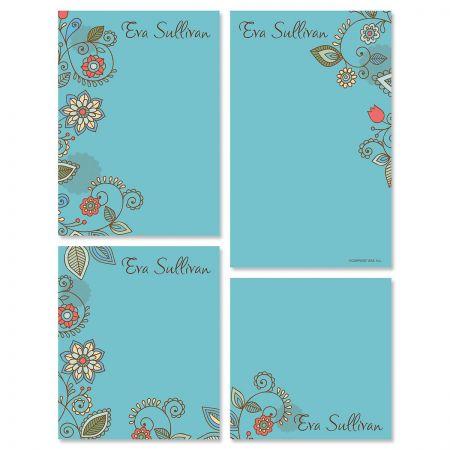 Paisley Blue Notepad Set