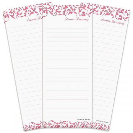 Twist Lined Shopping List Pads Dusty rose floral vines twist around one another at the top and bottom of these list pads. Customized just for you, they help ensure that you keep track of your to-dos, ideas, action steps, grocery lists, and other important details of daily life. Convenient for home or office, vehicle or purse, each lined 3-1/4  x 8  list pad contains 50 sheets. We'll print your name or personalized message on all 3 slimline helpers and send them in a gift package. Set of 3 (single design) Specify 1 line, up to 16 characters.