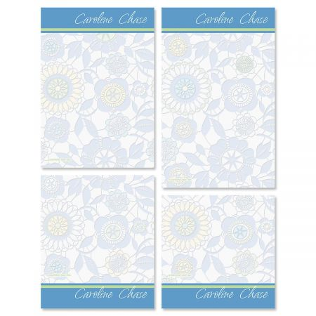 Generations Personalized Notepad Set Did you know some of the most organized individuals carry notepads? Our Generations personalized notepad sets of contemporary florals have many uses including to-do lists, quick notes or jotting down contact information for a new-found friend. Set of 4 sizes, 100 sheets per pad, personalized to show a bit of your personality, gift packaged. Sizes are: 4 1/4  x 4 1/4  4 1/4  x 5  4 1/4  x 6  4 1/4  x 6 3/4  Specify 1 line up to 18 characters. Acrylic Memo Pad Set Holder sold separately (ITEM #: 619781S). Click here to purchase Acrylic Upright Memo Pad Set Holder.