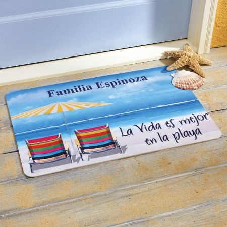Mejor en la Playa Personalized Welcome Doormat