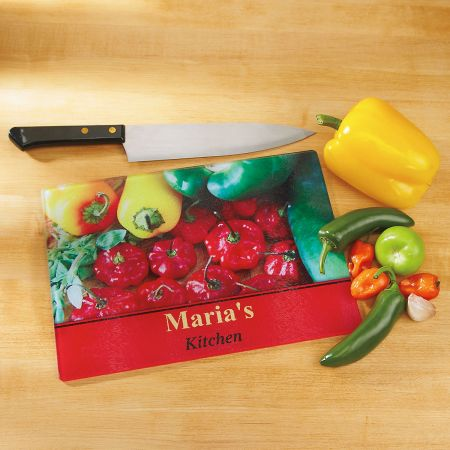 Chili Peppers Tempered Glass Cutting Board