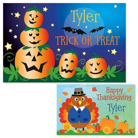 Jack-O'-Lanterns Autumn Personalized Kids' Placemat