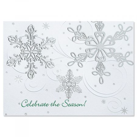 Snow Swirls Deluxe Christmas Cards - Set of 56