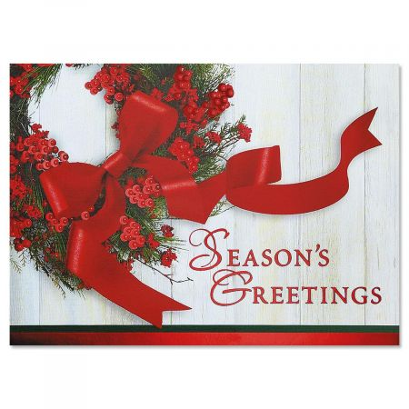 Wreath & Ribbon Nonpersonalized Deluxe Christmas Cards - Set of 56