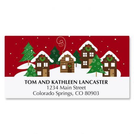 Snowy Village Christmas Address Labels