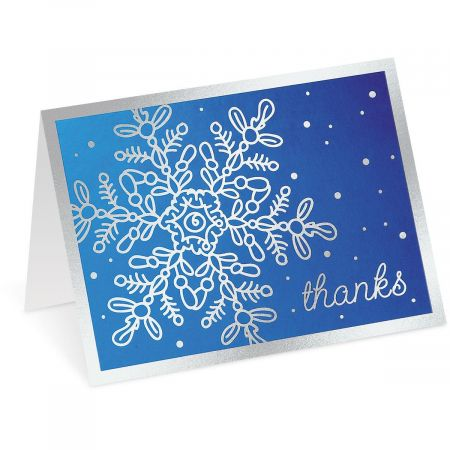 Foil Snowflake Thank You Note Cards