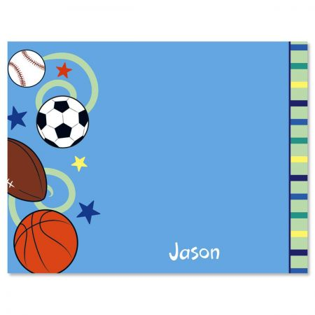Sports Balls Personalized Note Cards