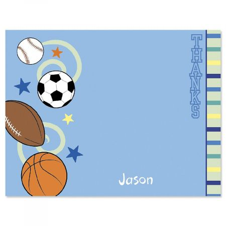 Sports Balls Personalized Thank You Cards