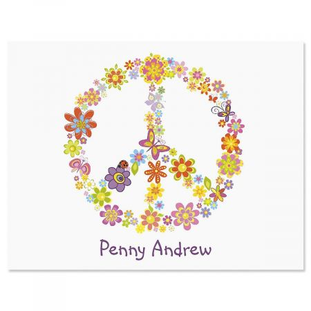 Peace Sign Personalized Note Cards