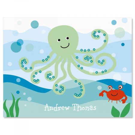 Octopus Personalized Note Cards