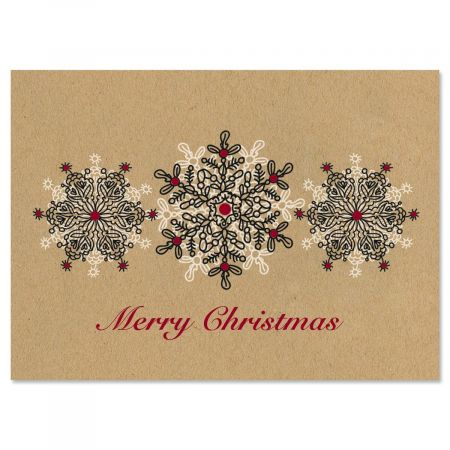 Kraft Stamped Snowflakes Nonpersonalized Christmas Cards - Set of 18