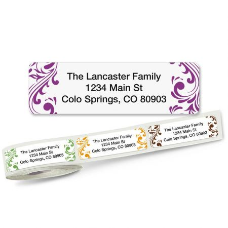 Elegant Swirl Rolled Address Labels  (5 designs)
