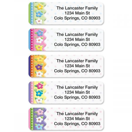 Frosting Flowers Rolled Address Labels  (5 Designs)
