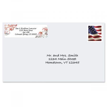 Gray Swirls Rolled Address Labels  (5 Designs)