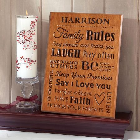 Family Rules Personalized Plaque