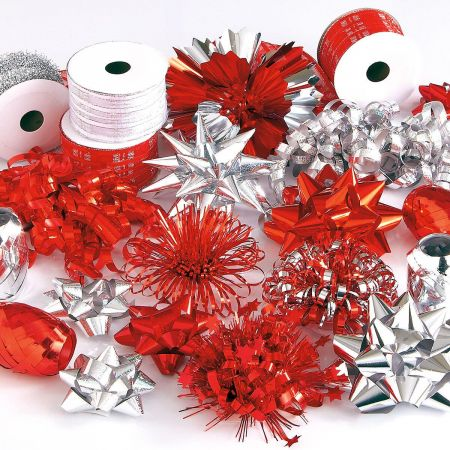 Silver and Red Holiday Ribbon & Bow Value Pack