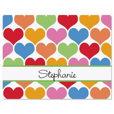 Happy Hearts Personalized Note Cards