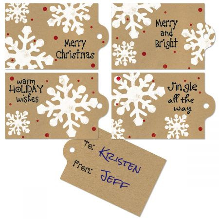Kraft Snowflakes To/From Tags
