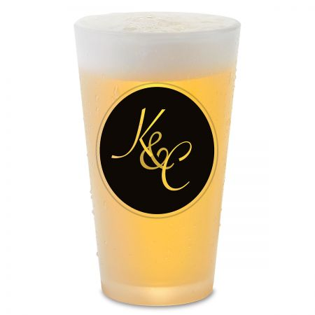 Circle Initial Personalized Pint Beer Glass