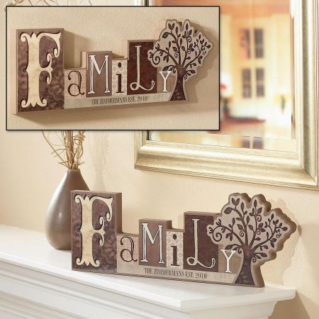 Family Word Block Customized Plaque